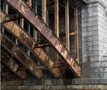 Extreme corrosion in a bridge.